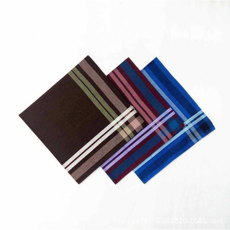 12pcs 43 * 43CM pañuelo cuadrado bufanda rayas oscuras de los hombres de algodón puro