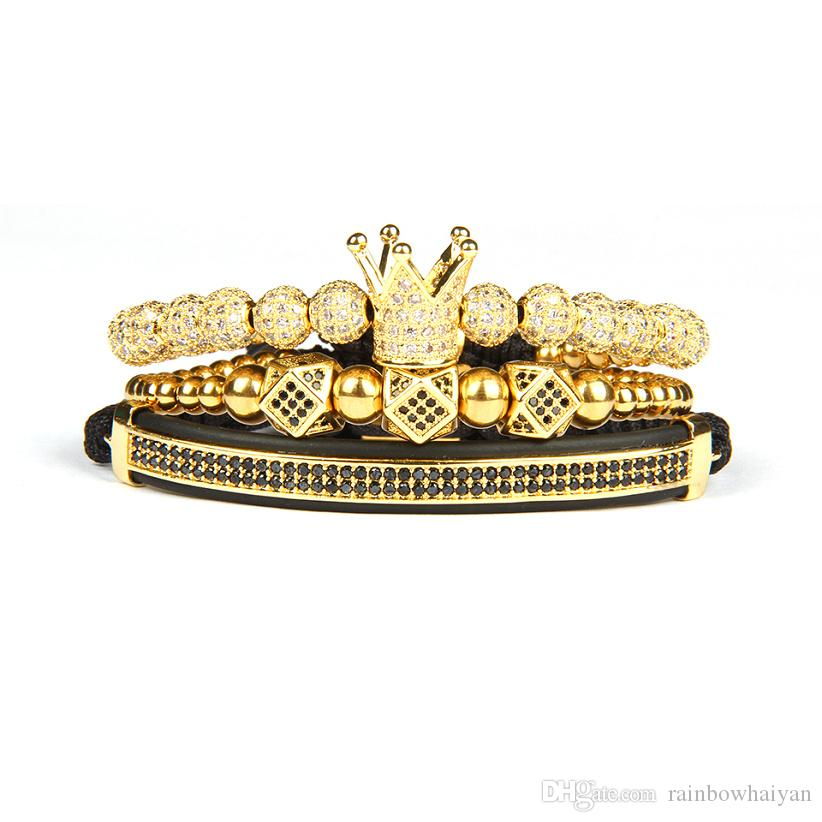 New Bracelet Men And Women 3pcs/set Crown Hamsa Eye Macrame Bracelets 3pcs/Set Stainless Steel Beads Best Quality Jewelry For Gift