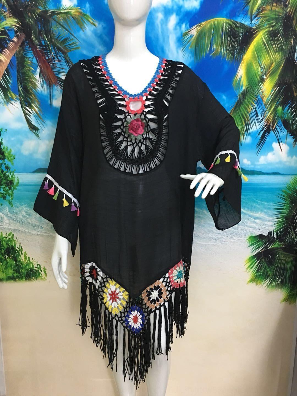 AIlDV Crochet flower mosaic tassel beach blouse long sleeve hollow loose sunscreen Crochet flower mosaic tassel beach blouse long sleeve shi