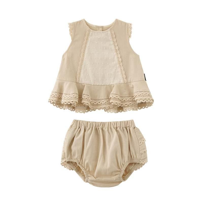 2PCS 0-5Y Summer Girl Spanish Clothing Vintage High-end Custom England Princess Dress Cotton Dress with pants for