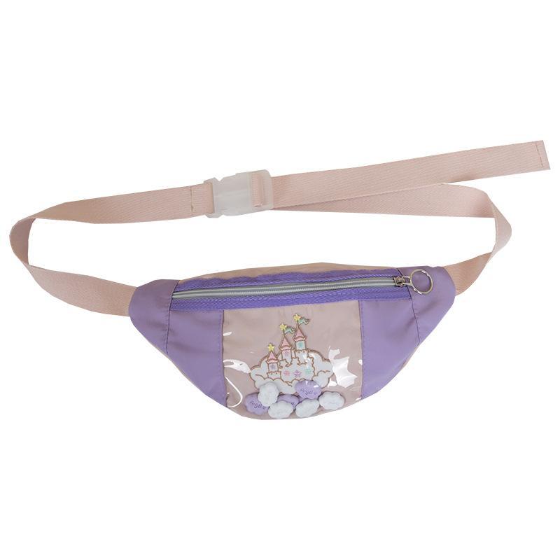 Della spalla di modo di Bolsa Feminina Preppy Style Cartoon Castle petto sacchetto multifunzionale di sport del sacchetto della vita del nuovo delle donne