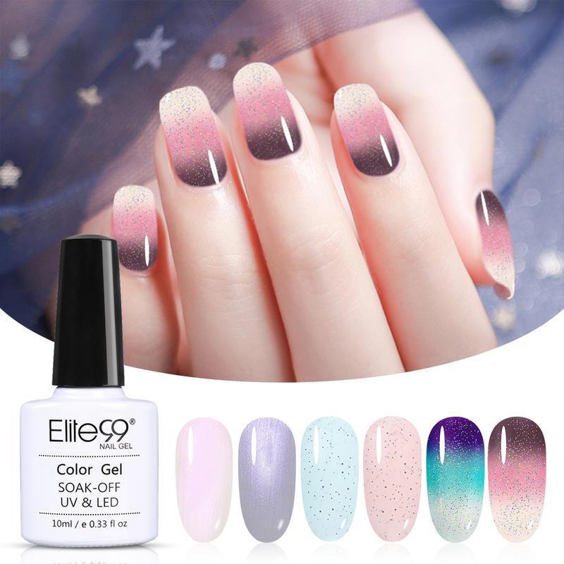 Elite99 6 peças / lote Temperatura mudança de cor gel esmalte esferográfica conjunto tudo para manicure soak off uv unhas gel verniz para nail art