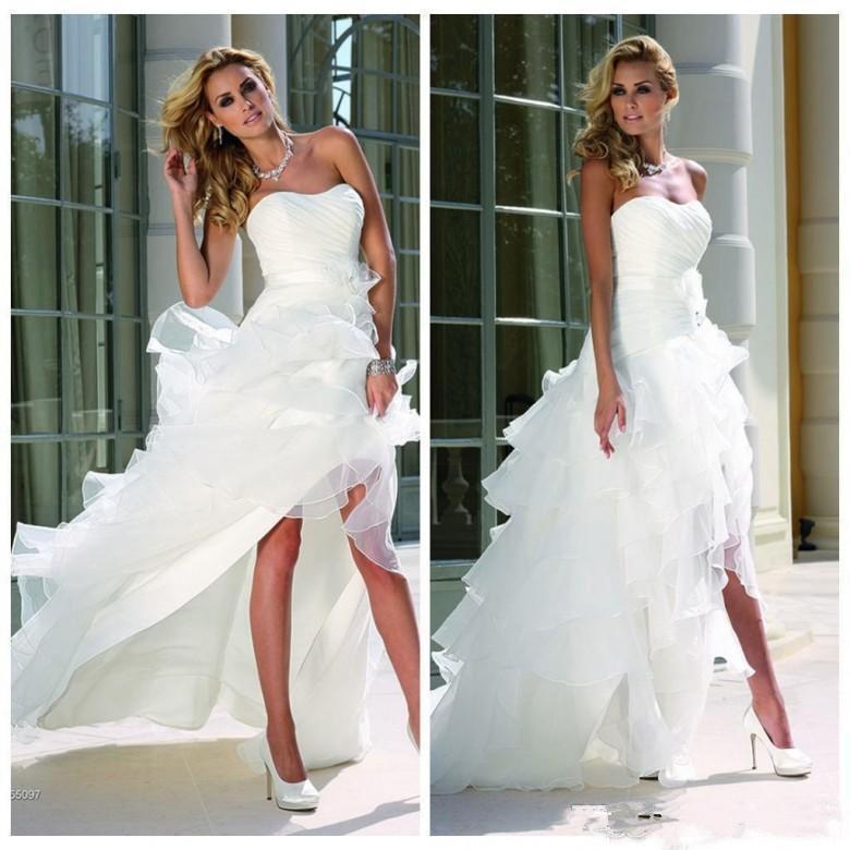 Weiß High Low Brautkleider 2020 gebogenen Ausschnitt Ärmel Cascading Rüschen Tiered Röcke A-Linie Brautkleid