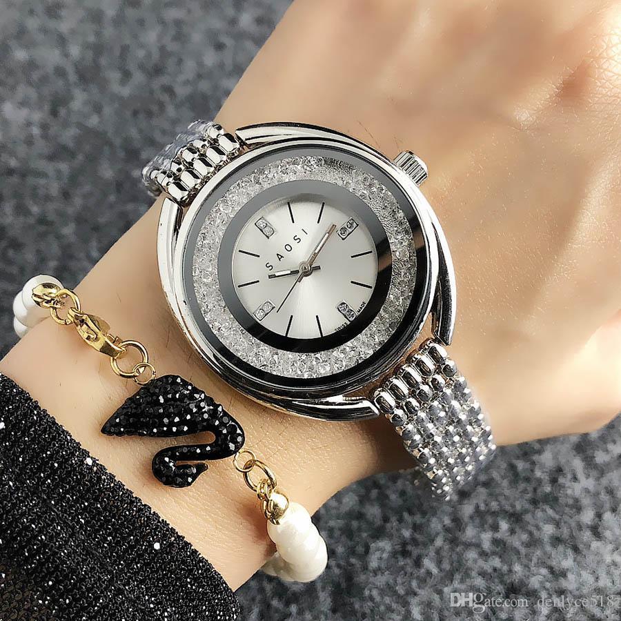 Модный стиль лебедь бренд женщин девочек хрустальные циферблаты металлические стальные полосы кварцевые часы SW03
