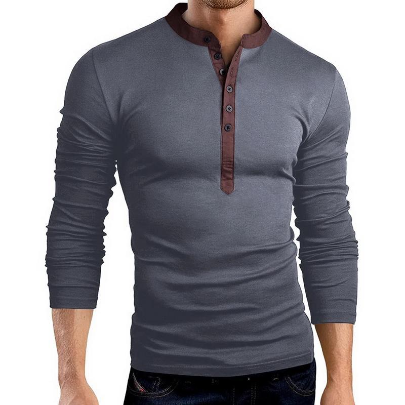 Günlük Büyük Boy T Gömlek Erkekler Moda Katı Tee Gömlek Sonbahar Uzun Kollu V-Yaka İnce Streetwear Erkek T-Shirt Mens