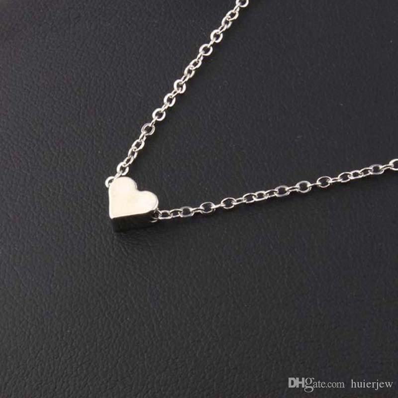 Colgante, collar de moda, pequeño corazón, colgante, collar corto, chapado en oro, amante de la cadena, dama, niña, regalos, bisutería, hermosos collares de cadena