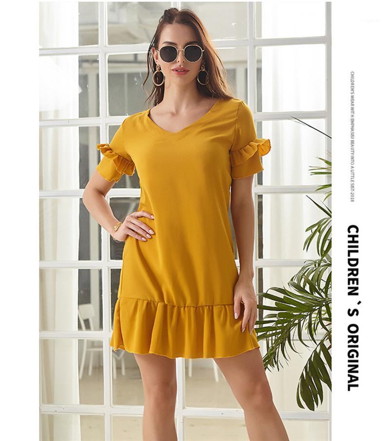 Boyun fırfır Kadınlar Elbiseler Yaz Kısa Kollu Gevşek Bayan Modelleri Casual Katı Renk dizayn edilmiş elbiseler V