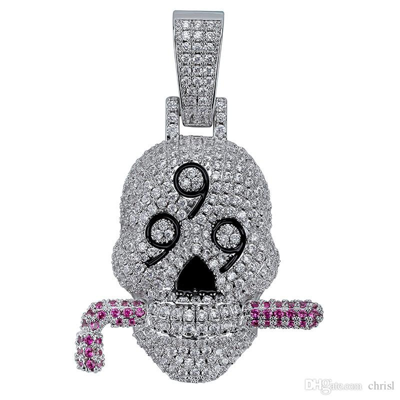 Iced Out Lab Diamond 999 Skull Solid Pendant Necklace Silver Plated Mens Hip Hop Jewelry Gift
