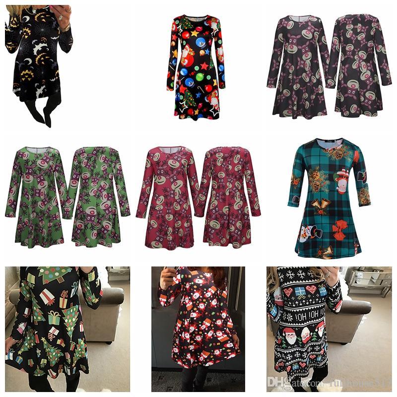 Manga larga vestidos de Santa Claus regalo de Navidad de la Navidad Vestido evasé para mujeres niñas pivotar ropa informal casa mini vestido