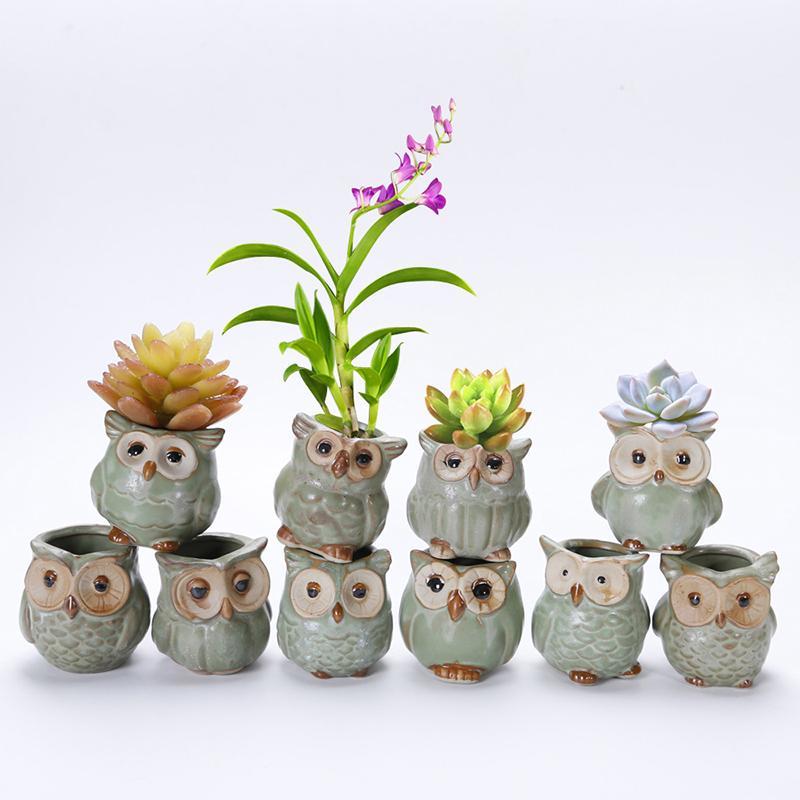 Flower Pot 10pcs / Set Porcelana animal Série Mini Pots Ornamentos Kiln Owl Multi-flor Suit requintado pequeno Decoração CJ191226