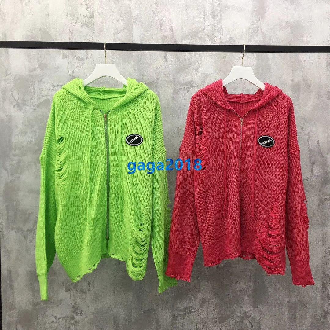 high end women girls oversize hooded knit sweatshirts sweater jacket broken hole patch cardigan zip long sleeve knitwear fashion design tops