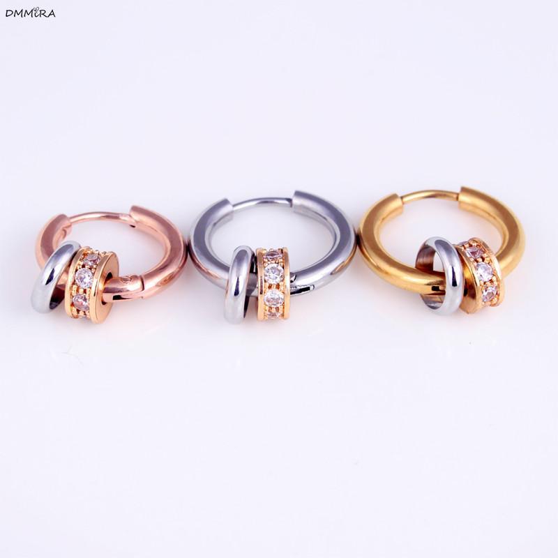 Stud da moda Duplo Pequeno Círculo brincos simples Cristal Mulheres Brincos Coreia do estilo na moda menina encantadora