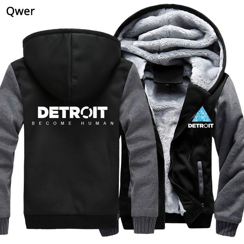Taglia Stati Uniti per Uomo Donna Hoodies Gioco Detroit Diventa umano Cosplay Cappuccio Zipper Felpa con cappuccio invernale Felpa con cappuccio addensare
