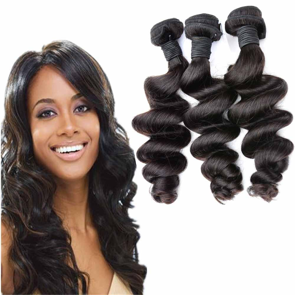 저렴한 느슨한 컬 말레이시아 처녀 머리 엮어 3 개 물결 처리되지 않은 페루 인도 브라질 인간의 머리 확장 4 번들 숙녀