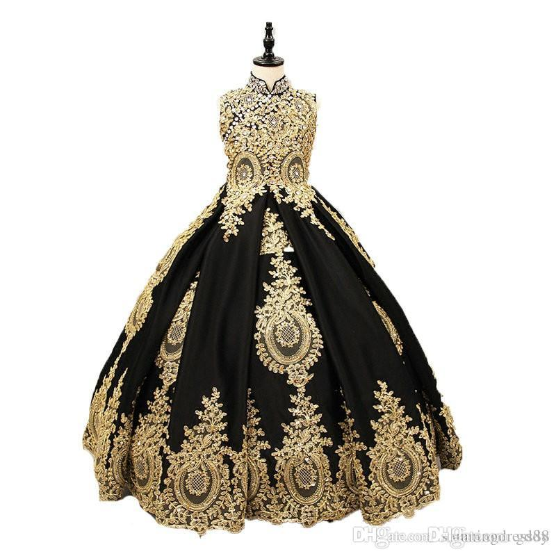 Ball Gown Flower Girls Dresses for Wedding Jewel Neck 3D Floral Bead Kids Pageant Dress Princess Toddler Communion Gowns