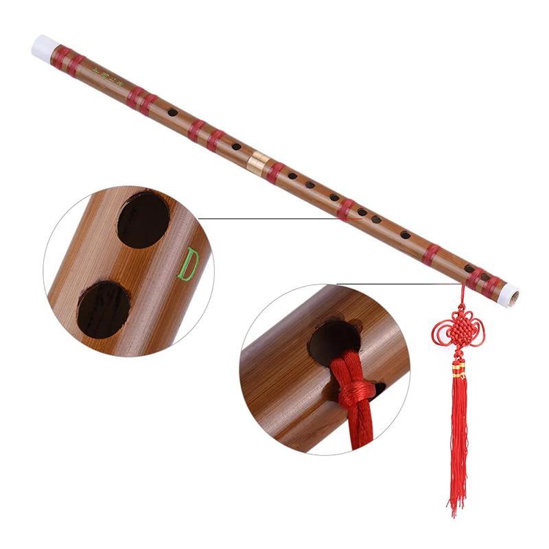 1pcs 쓴 대나무 피리 Dizi 전통 수제 중국어 뮤지컬 목관 악기 D 학습 수준의 열쇠