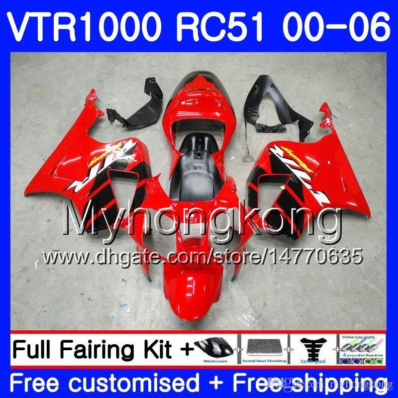 Kit For HONDA VTR1000 RC51 SP1 SP2 00 01 02 03 04 05 06 257HM.0 RTV1000 VTR 1000 2000 2001 2002 2003 2004 2005 2006 Fairing Factory red blk