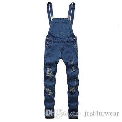 Homens Hot Sell Macacões Buraco jeans skinny Botão Sling Pants masculino Vintage Sólidos Estações Vestuário Masculino