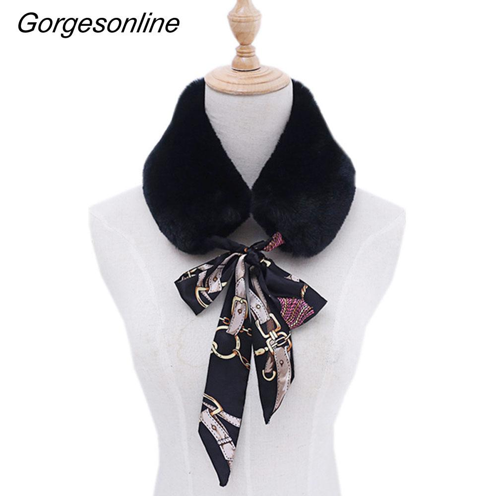 2018 New Fashion And Nice Lady Faux Rex Rabbit Fur With Silk Scarf Winter Round Neck For Fall Winter As Collar To Elegant Women