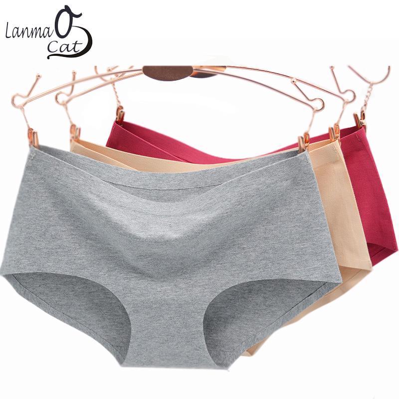 Lanmaocat Comfortable Seamless Panties Cotton Underwear for Women Mid-Waist Solid Colors Ladies Briefs Size M L XL Underpants