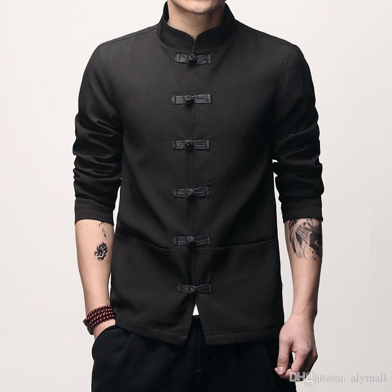 Veste à manches longues homme style chinois veste Asia taille S - 5XL hommes blousons et manteaux noir rouge gris