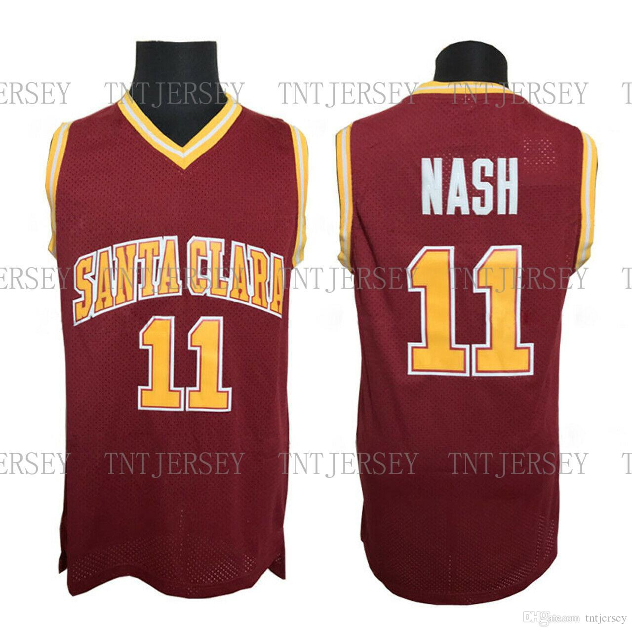 , Steve Nash # 11 Santa Clara Koleji Basketbol Formalar Dikişli Boyut S-XXL Ücretsiz Kargo