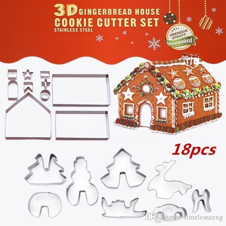 18PCS / SET paslanmaz çelik kurabiye kalıbı Noel tema 3D DIY Çift şeker kek tavası zencefilli ev metal kek kesiciler kalıp kutusu paketi
