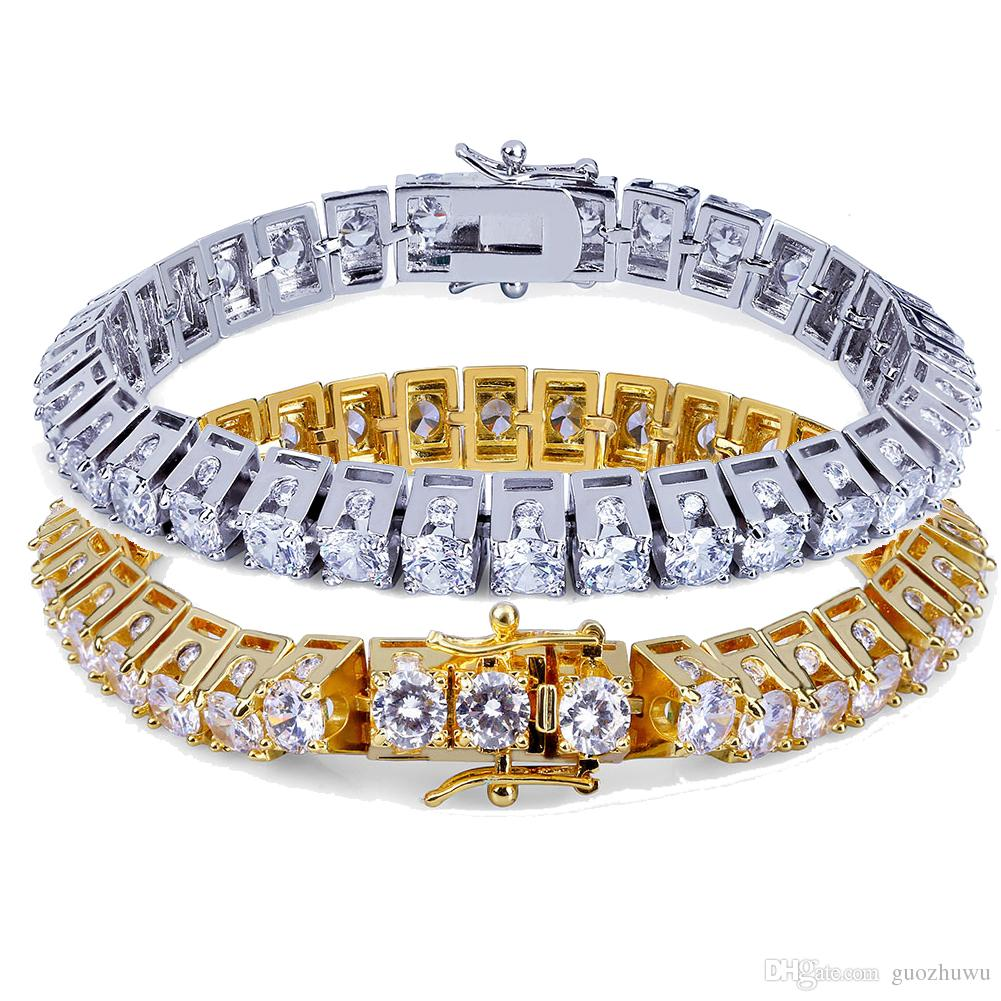 18K Gold and White Gold Plated Hip Hop Big Zircon Tennis Chain Bracelet Single Row Trapezoid Diamond Men's Cuban Chains Rapper Jewelry Gifts