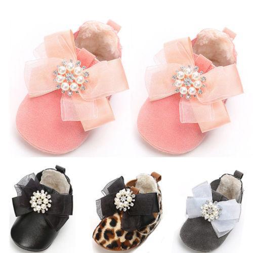 Newborn Baby Girl Soft Sole Leather Crib Shoes Anti-slip Sneaker Prewalker 0-18M