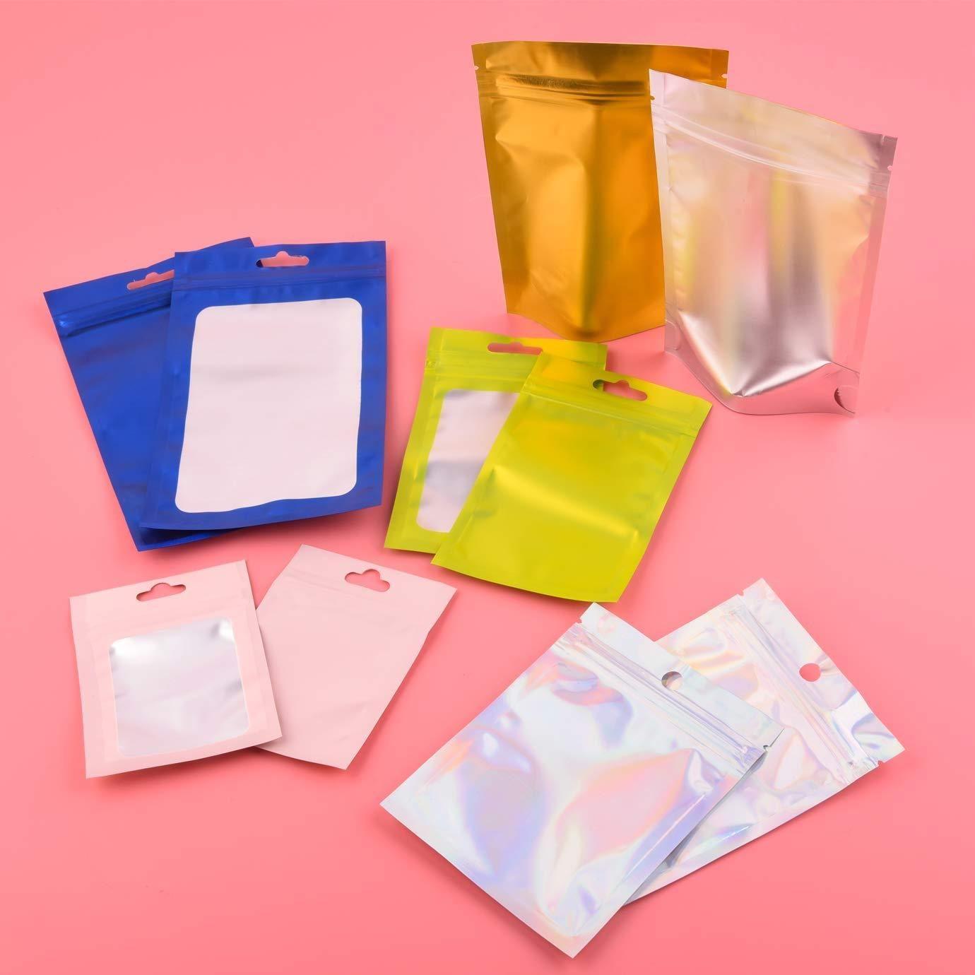 100 pz sacchetti di plastica Mylar foglio di Alluminio Sacchetto Della Chiusura lampo per conservazione degli alimenti a lungo termine e da collezione di protezione 8 colori