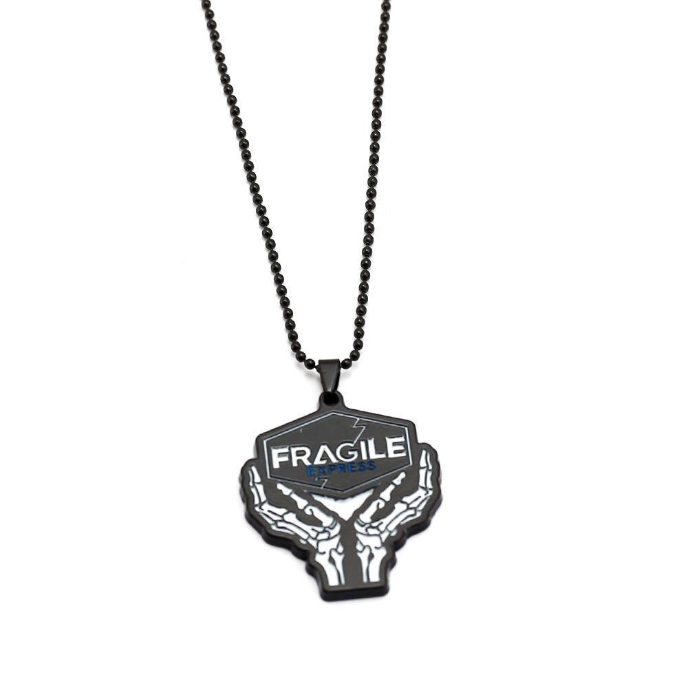 게임 죽음 스트랜드 목걸이 블랙 메탈 FRAGILE 펜던트 남성 여성 Chaveiro 보석 24PCS / 많은 도매 높은 품질