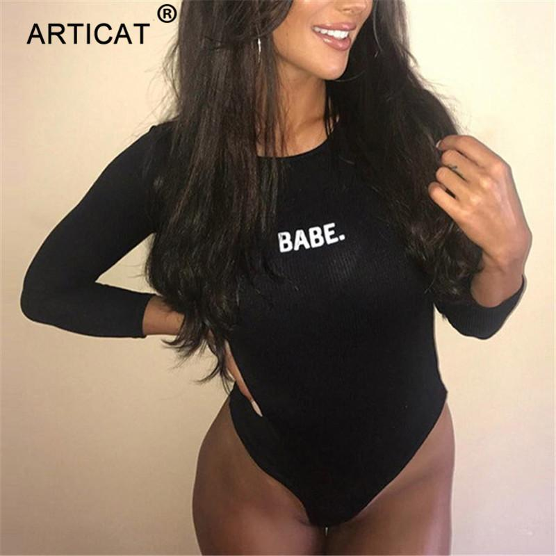 Articat Carta Outono Sexy Kintted Bodysuit Sólida Manga Comprida Bodycon Romper Womens Jumpsuit Collant Ocasional Mulheres Macacões C19040301