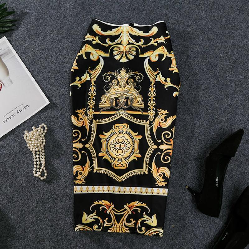 2019 Новый-ближайшие европейские женщины осень печати юбка-карандаш высокая стрейч абстрактный узор миди скольжения хип юбка женский MX200327