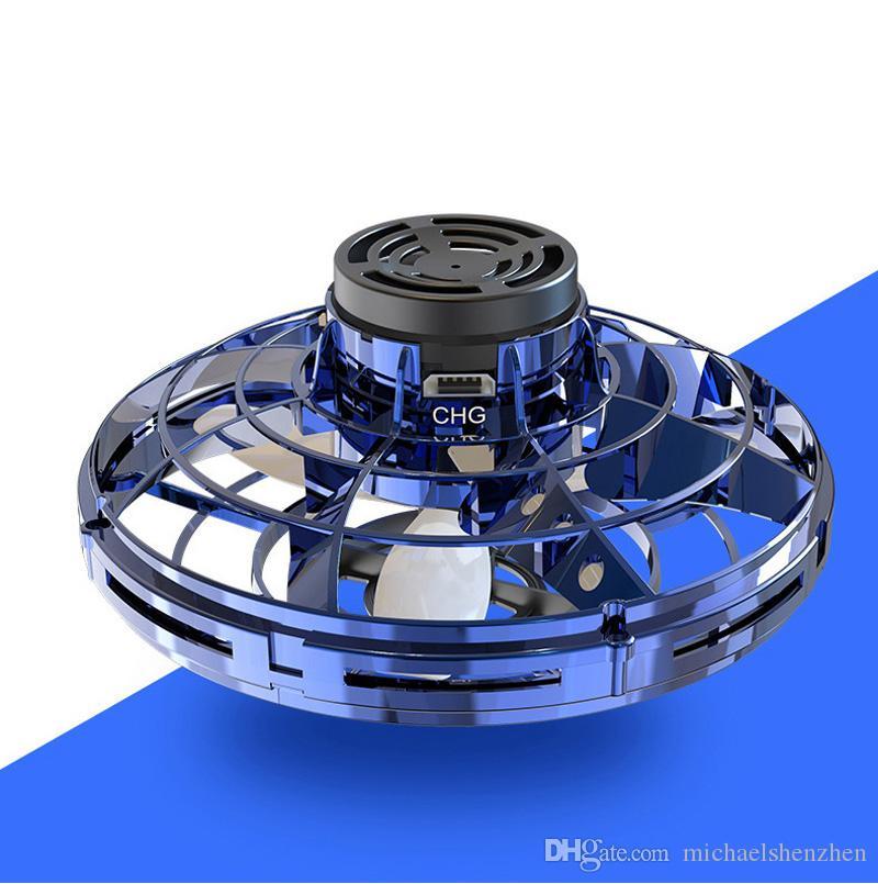 mão Flynova maioria enganou-out girador Voar Spiner Brinquedos Mini UFO com luzes rotativas e Shinning LED presente de ano novo para a criança B