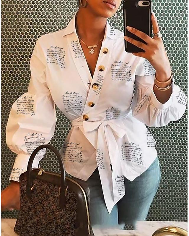 2020 Women Elegant Fashion Turn-Down Collar Spring Letter Print Blouse Lantern Sleeve Buttoned Surplice Wrap Printed Blouse
