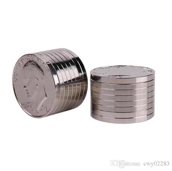 Três-camada de metal moedor de moedas de liga de Zinco aparelhos de cigarro 40mm venda quente EUA dólar triturador de cigarro triturador de cigarro vendas diretas