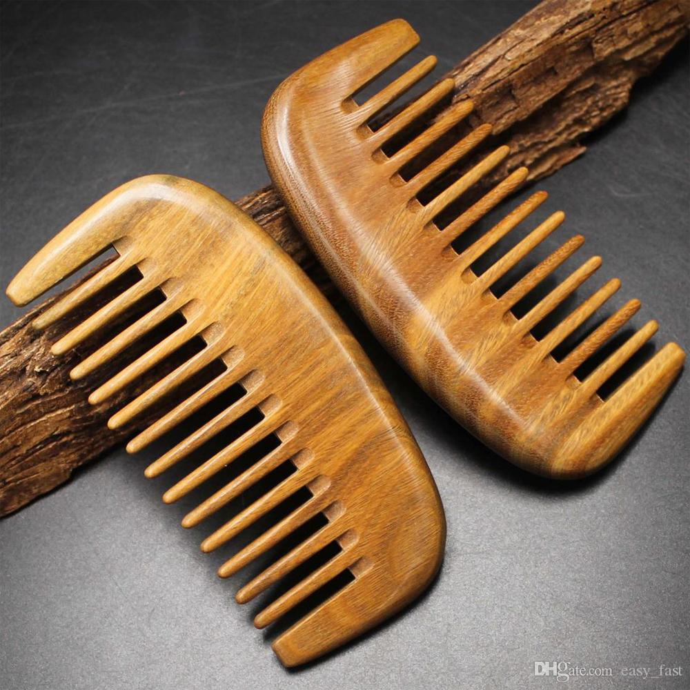 10pcs/lot New Mini Pocket Hair & Beard Comb Green Sandalwood Wide Tooth Hair Care Styling Tool Anti Static Kids Comb Low Price Free Shipping
