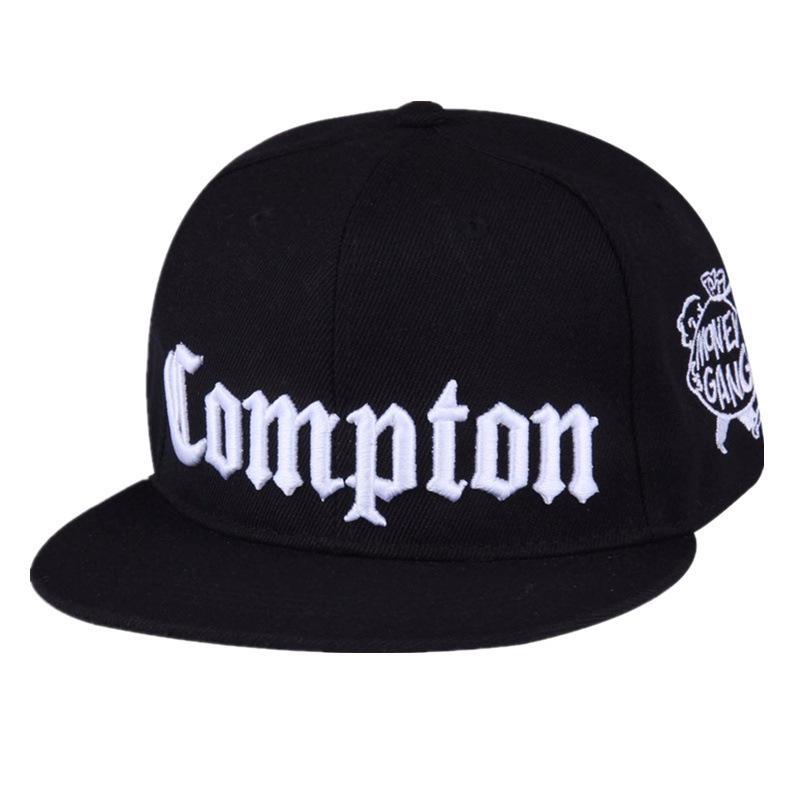 КОМПТОНОВСКАЯ вышивка бейсболка хип-хоп Snapback крышек плоских мод спорт Hat For Unisex Регулируемого папаа шляпы