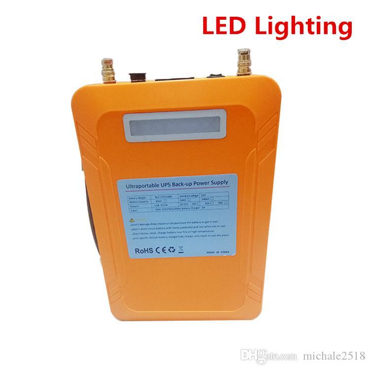 100AH USB الناتج 5V DC 12V AC 110-240V مصادر الطاقة غير المنقطعة امدادات الطاقة لUPS محمولة على الانترنت بطارية احتياطية مع شاحن 5A