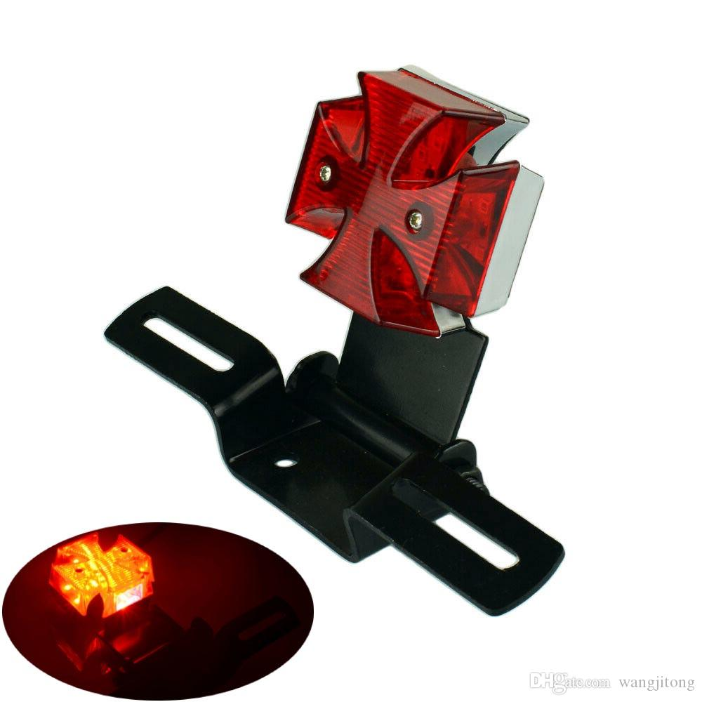 Red LED Motorcycle Tail Light Chopper Dirt Bike Cross Rear License Plate Lamp
