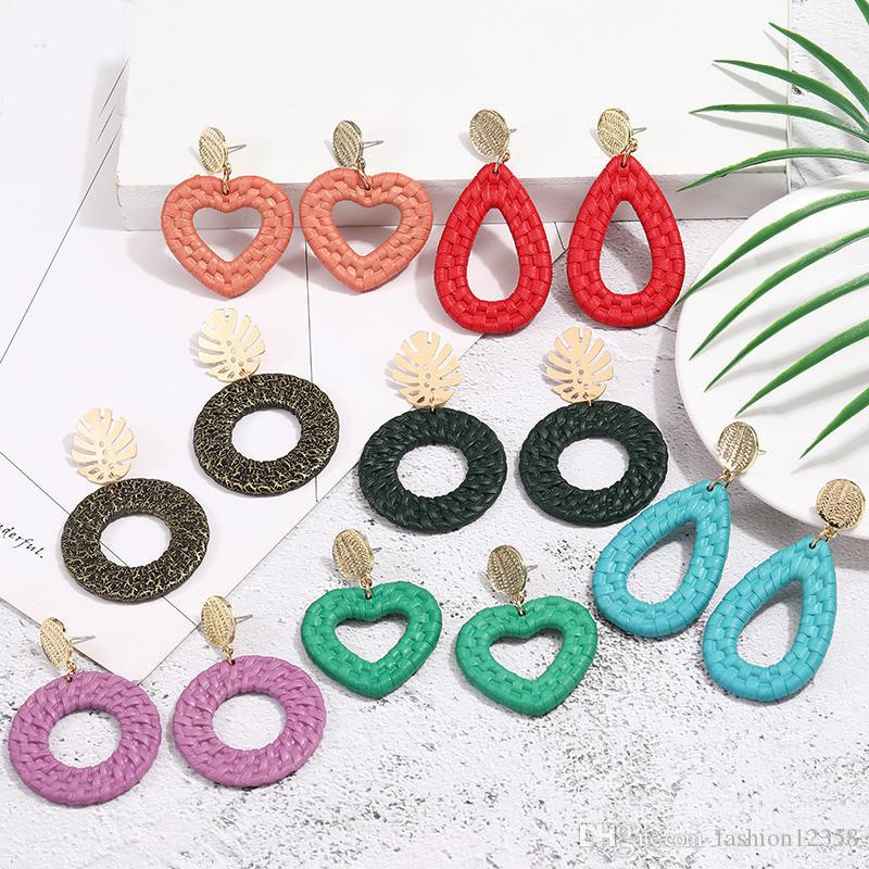 Los nuevos pendientes geométrico colorido Corazón de la Waterdrop acrílico cuelgan para mujeres patrón de tejido de regalo de la joyería de resina Pendientes de la manera