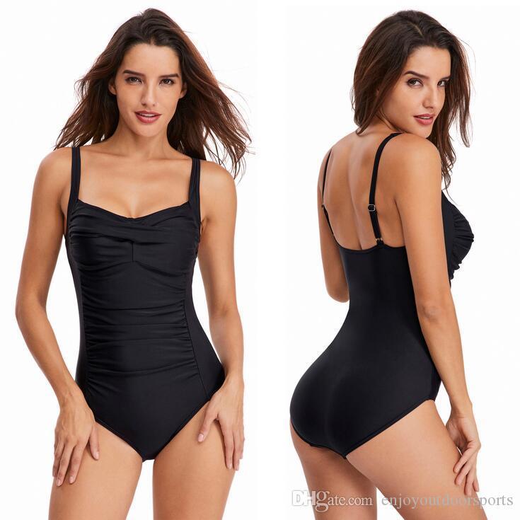 Vintage One Piece Swimsuit Women Swimwear Solid Monokini Retro Bodysuit Female Beach Wear Black Beach Bathing Suit Binikis Women Swim Suit