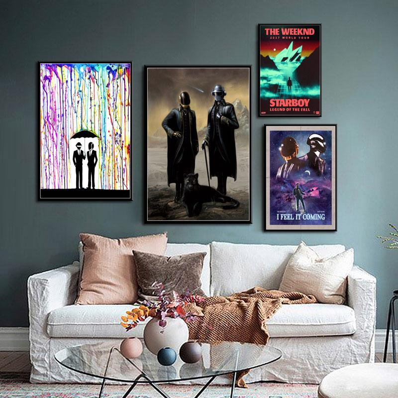Daft Punk The Weeknd Starboy Metallic Hot DJ Hip Hop Искусство Живопись Холст Шелк Плакат Стена Home Decor