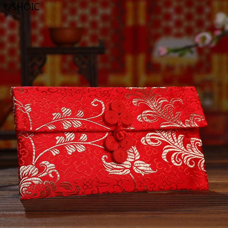 10pcs/set Chinese Gold Printing Cloth Art Red Envelope Chinese Knot Red Envelope Wedding Festive Wholesale