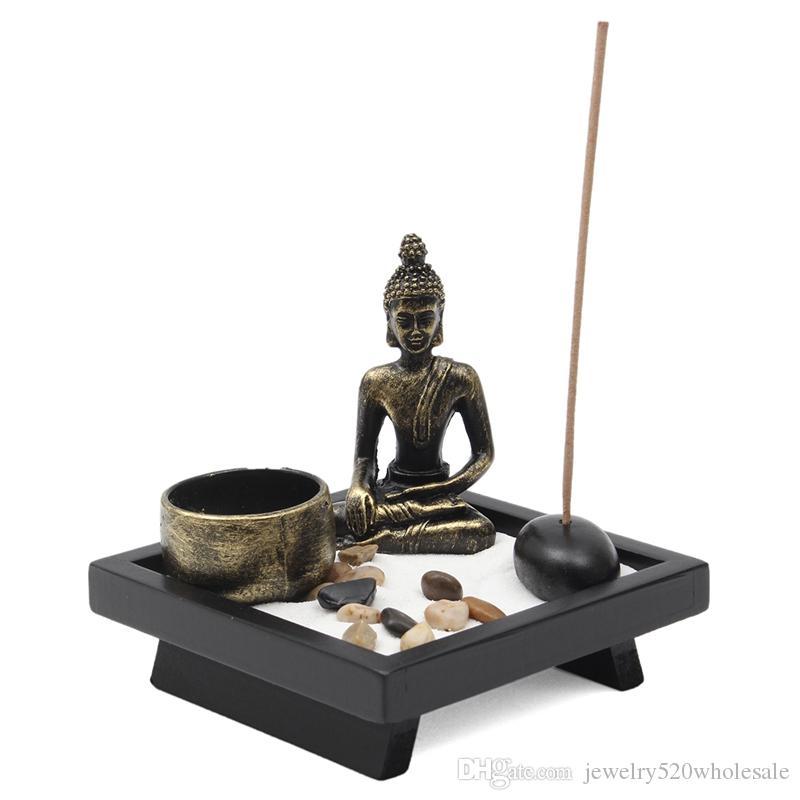 Retro Zen Candle Holder Buddha Chinese Resin Sand Fragrance Buddha Candlestick Feng Shui Incense Burner Home Decor Gift