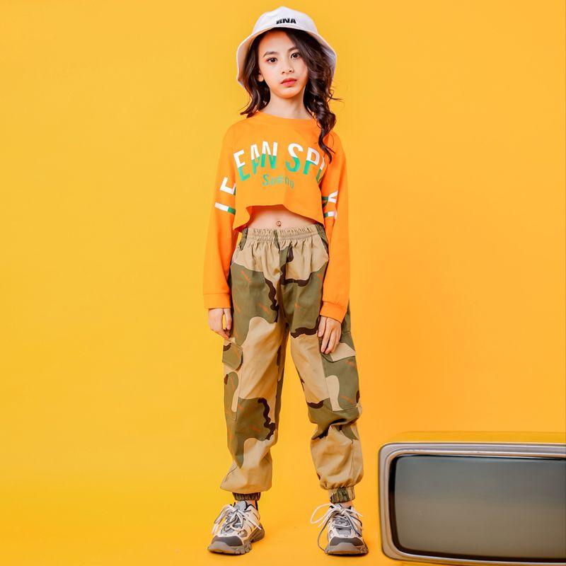 무대 착용 재즈 댄스 의상 소녀 위장 거리 연습 성능 의류 긴 소매 힙합 Rave Outfit DC3104