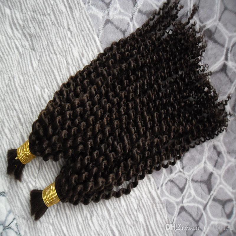 Tranças 200g Humano aparente Não Anexo Kinky Curly Hair Extension para o cabelo humano Tranças 2PC Sem Trama brasileiros Crochet Tranças massa