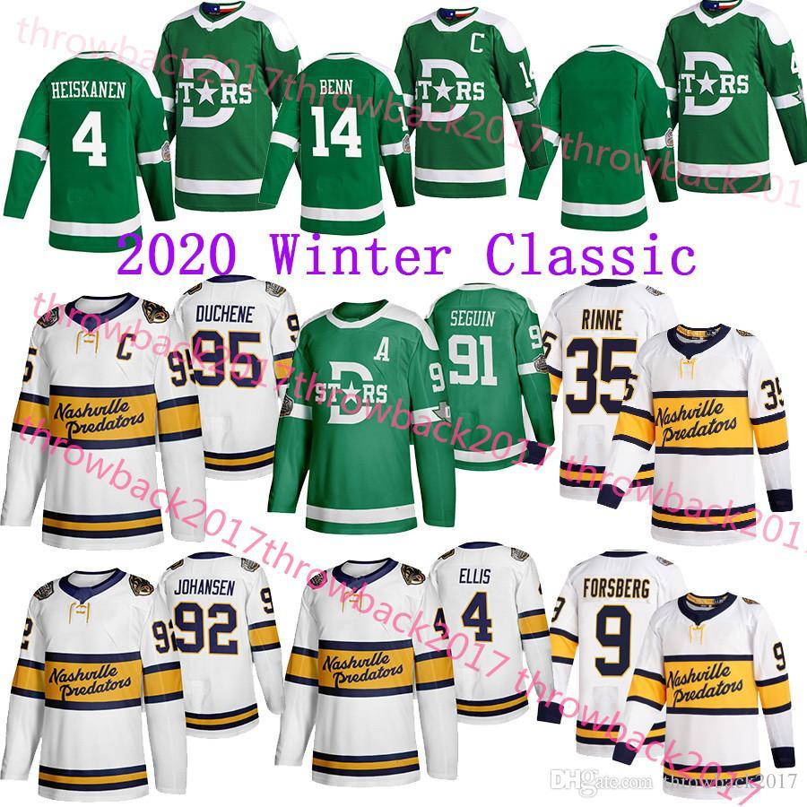 Nashville Predators 2020 invierno clásico Jersey Dallas Stars 95 Duchene 35 Rinne 9 Forsberg 14 Benn 91 Tyler Seguin 4 Ellis Jersey del hockey
