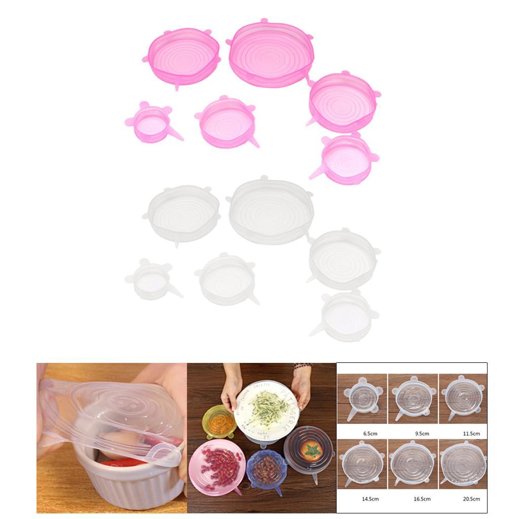 12 Pieces extensible Silicone Couvercles Couvre réutilisable Bouchon d'aspiration Pot Couvercles