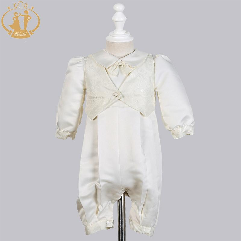 Nimble Baby Boys Christening Gowns Satin Formal Occasion Boys Romper newborns clothes Ivory Kids Baptism Dresses 0-12MMX190912